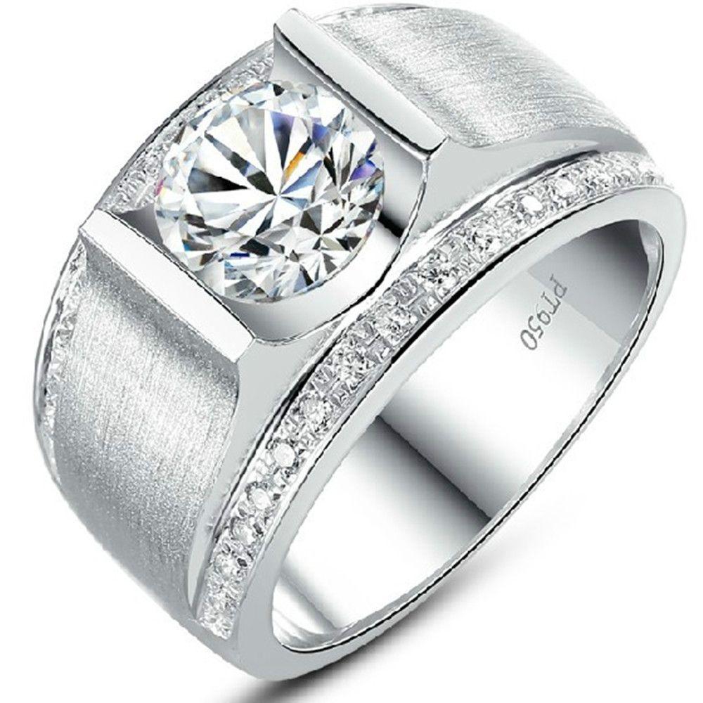 knappe man ring synthetische diamant 1 ct betrokkenheid sterling ...