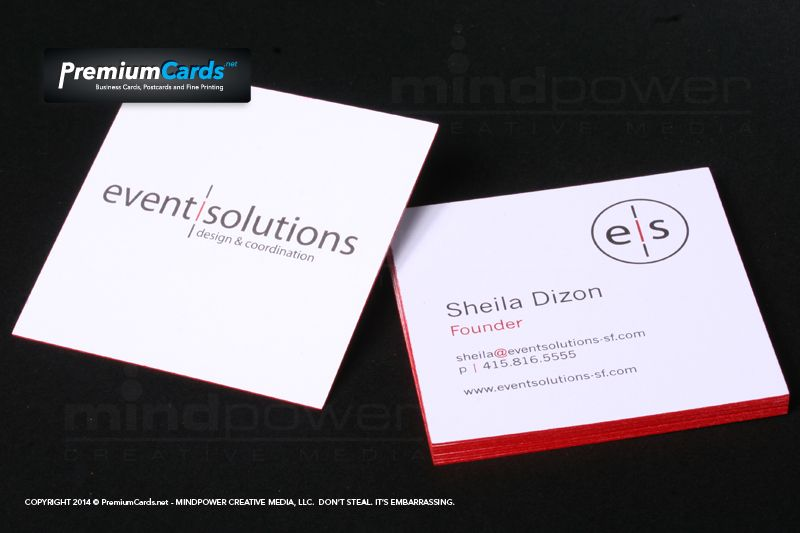 square business cards with red painted edges http www