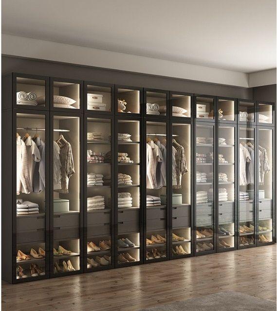 Armario con Iluminación LED/armario de vestir con puerta de vidrio/vestidor equipado a medida