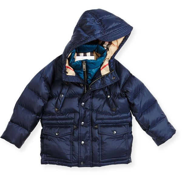 Burberry Peter Hooded Puffer Jacket (1.795 BRL) ❤ liked on Polyvore featuring kids apparel jackets and navy