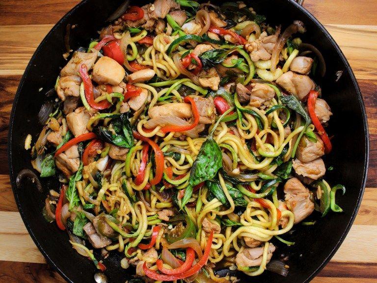 spicy thai drunken zucchini noodles zoodles with chicken