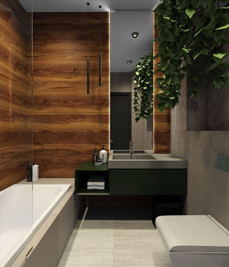 Diseños de cuartos de baño con colores oscuros - 100 fotos ...