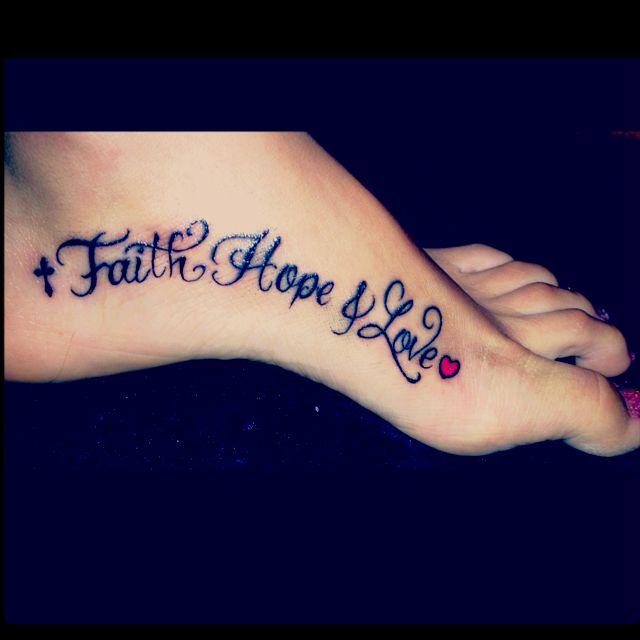 Faith Love And Hope Bracelet Tattoo On Ankle: 1 Corinthians 13:13