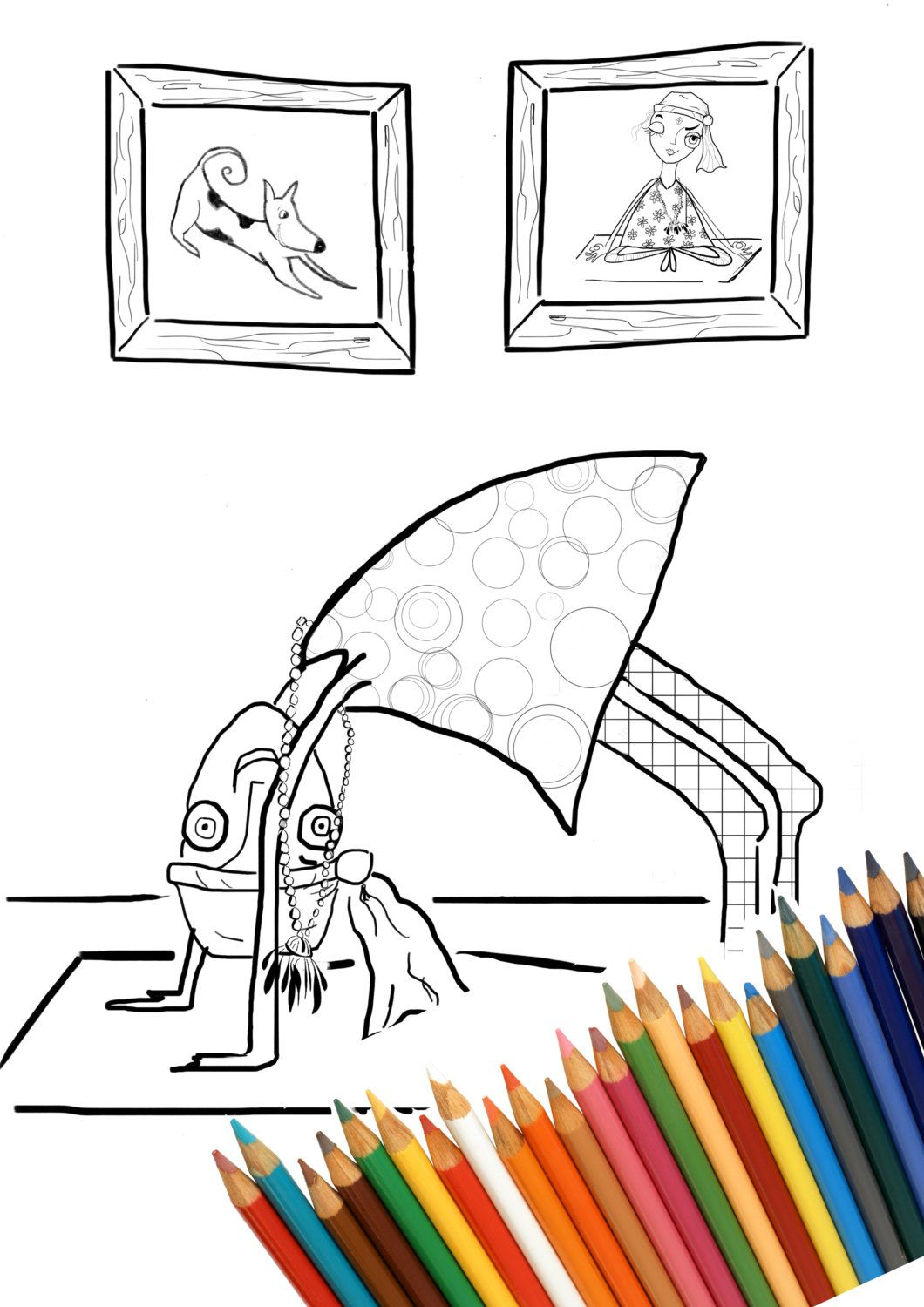 Anti stress colouring book asda - Yoga Wheel Coloring Page Adult Coloring Page Digital Printable Page Whimsical Coloring Page Funny Stationary