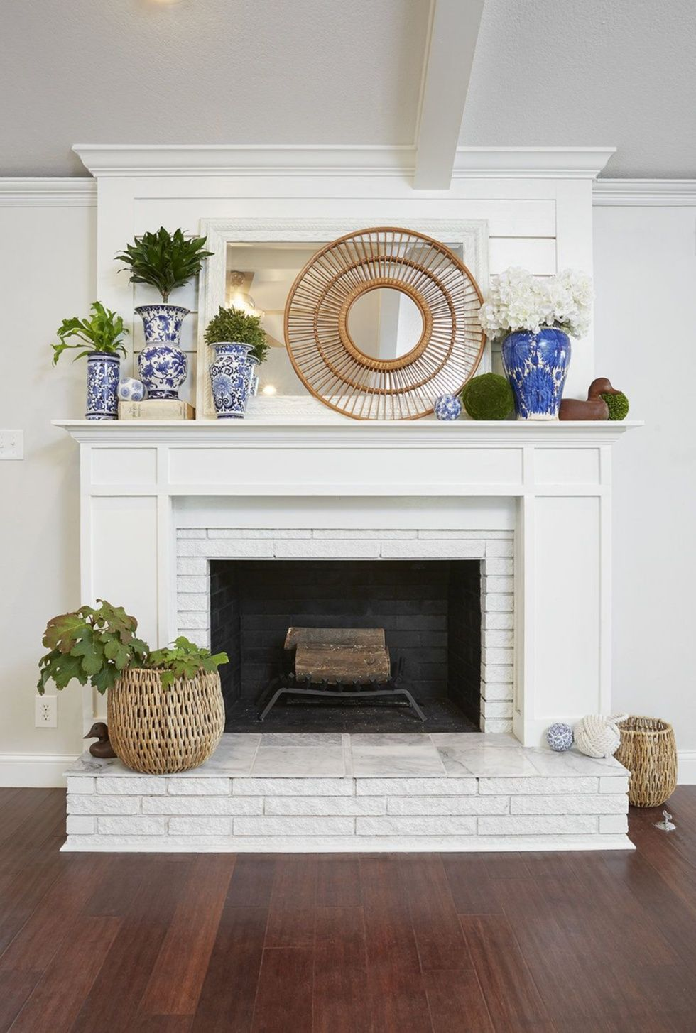 Farmhouse Fireplace Decor. How to Paint Brick def. want