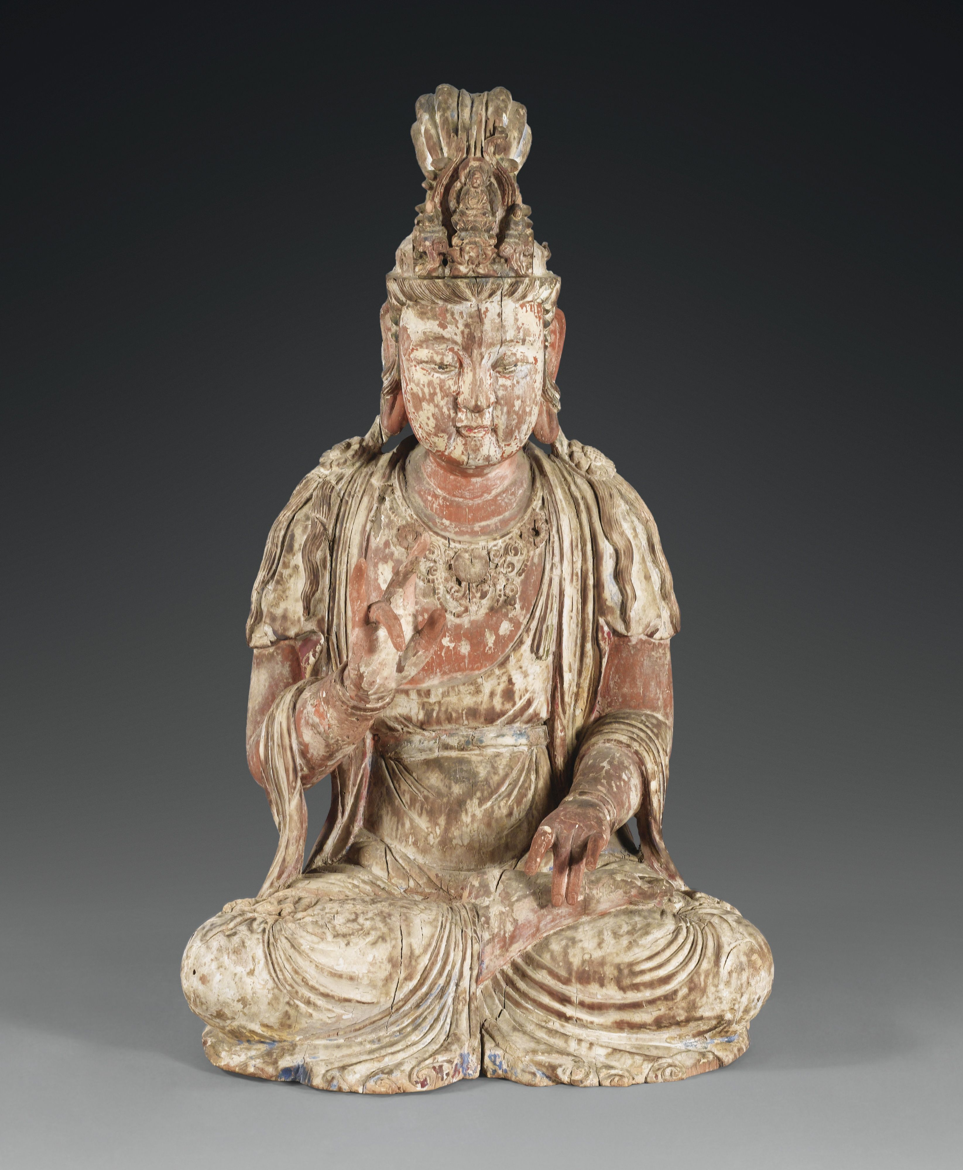 A Carved Wood Figure Of A Bodhisattva China Late Song Dynasty
