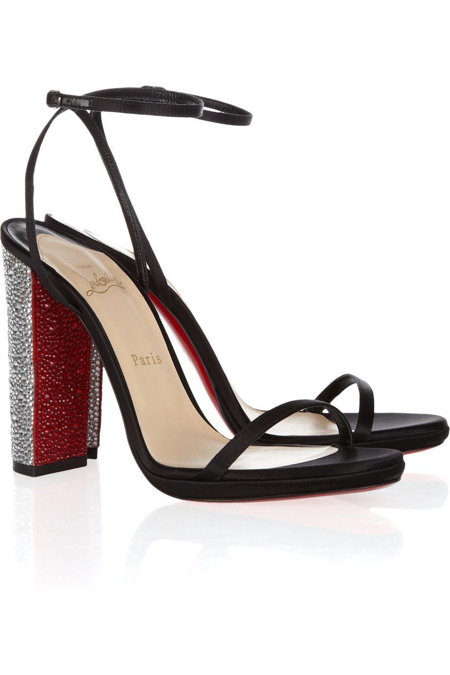 331a138bb6e Christian Louboutin | Au Palace 120 crystal-heel satin sandals | NET ...