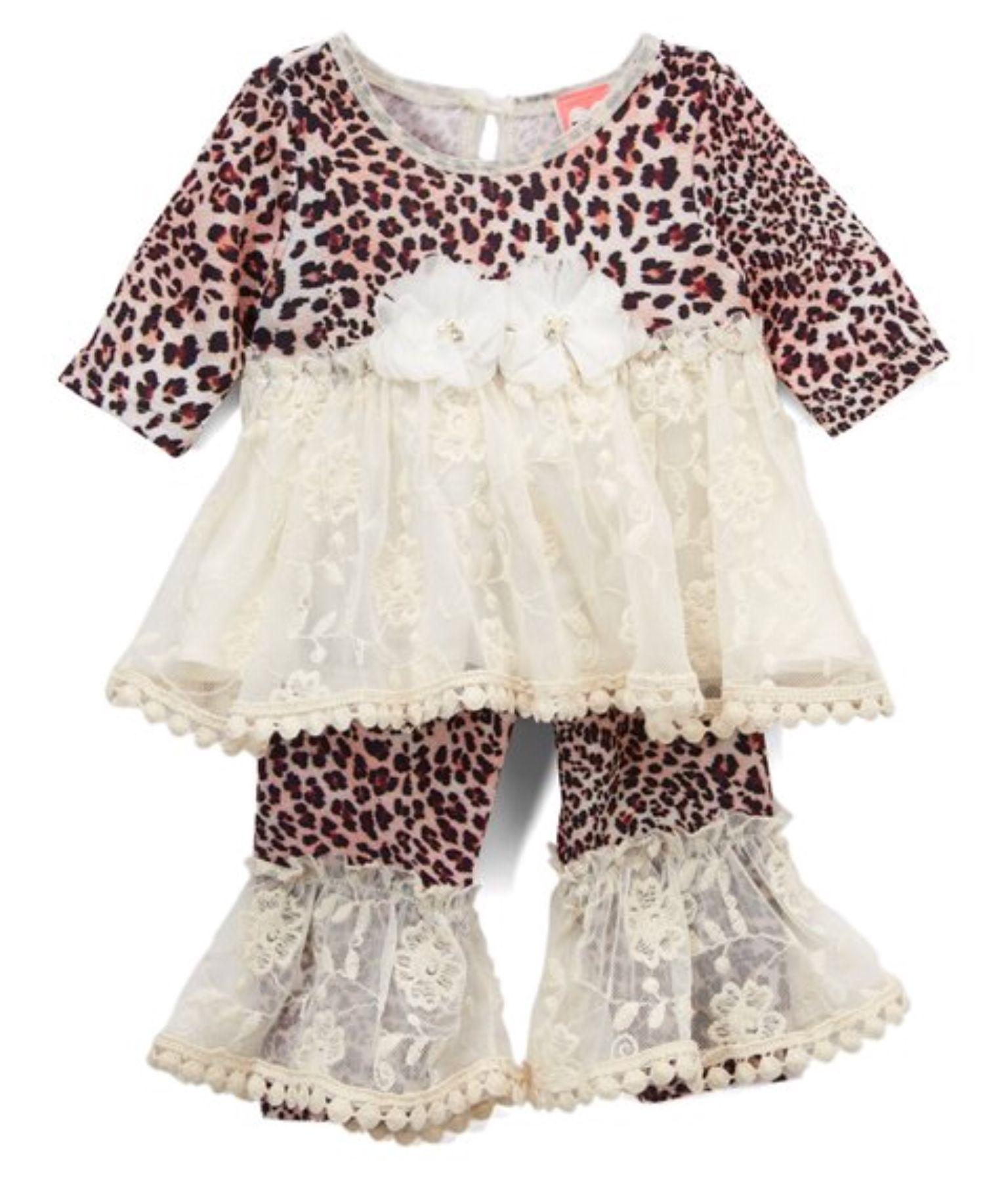 mini mini Brown Blushing Leopard Dress & Leggings Infant & Toddler
