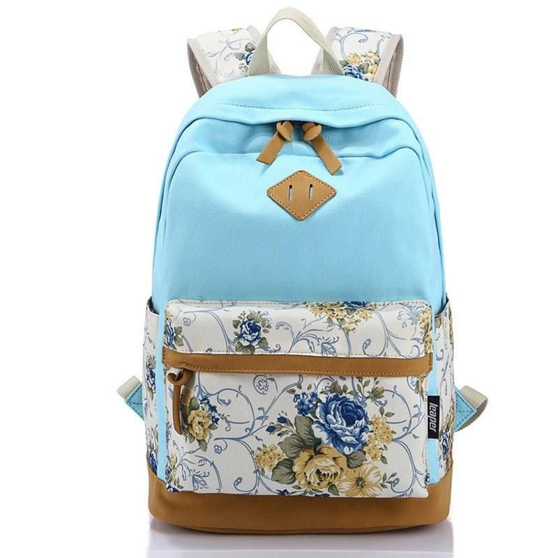 Photo of Popular Trend! Floral Designer Print Color-Block Durable High-Quality Large-Capacity Backpack 10 Colors