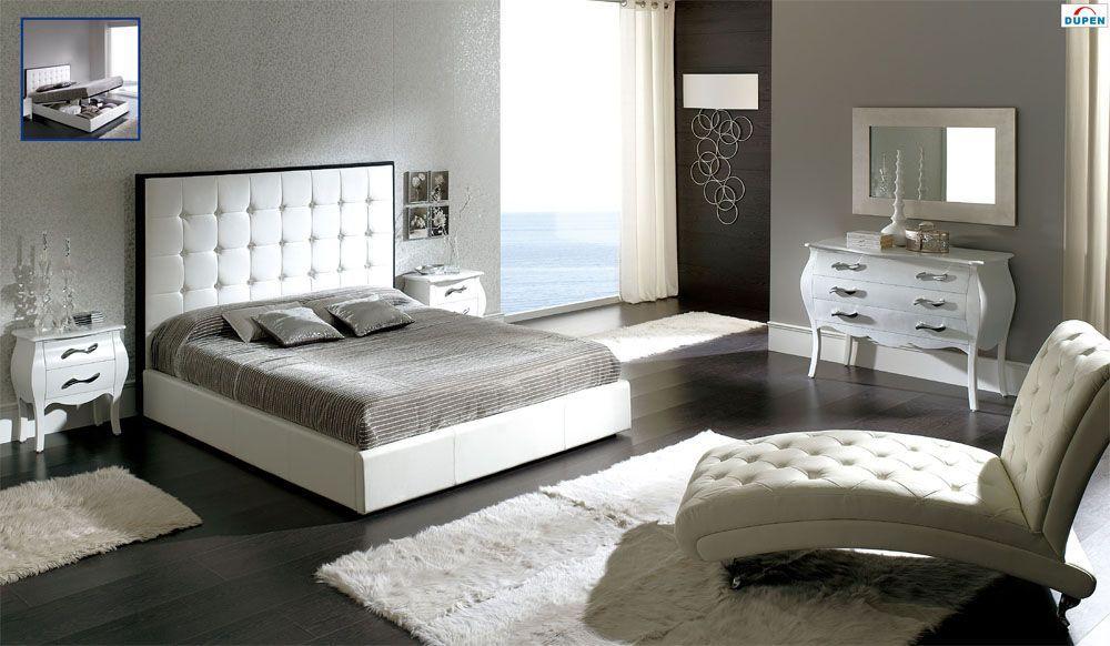 Made In Spain Leather Platform Bedroom Set With Upholstered