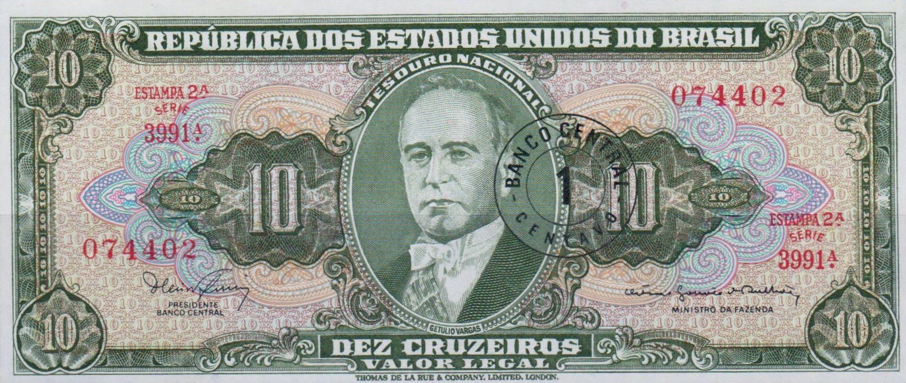 Brazil Banknote 10 Cruzeiros Bank Notes World Coins