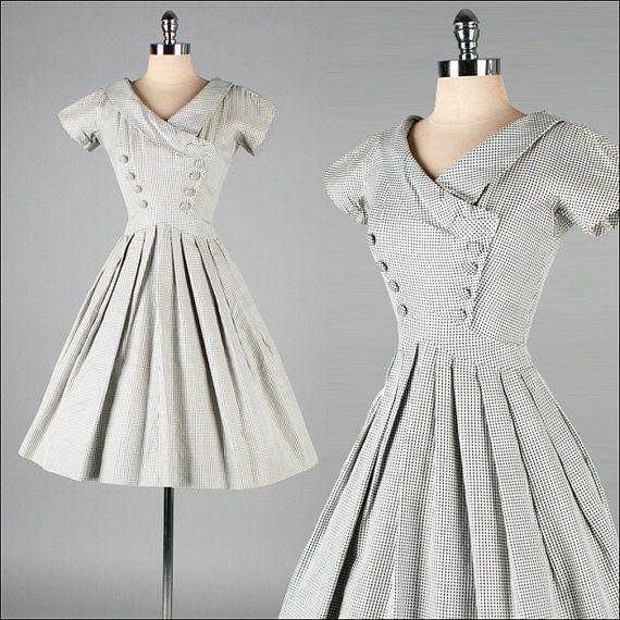 Vintage 1950s Dress  Black White Checked  by millstreetvintage