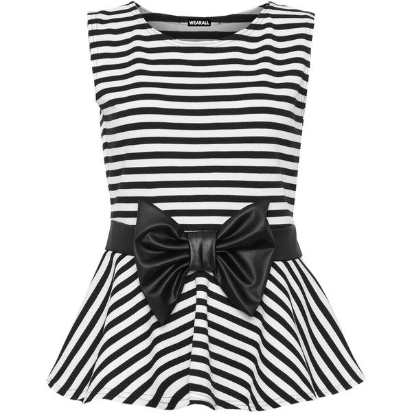 f50e2ae299bdac Sheila Striped Sleeveless Peplum Top ($34) ❤ liked on Polyvore featuring  tops, shirts, blouses, peplum tops, tank tops, black white, plus size, black  and ...