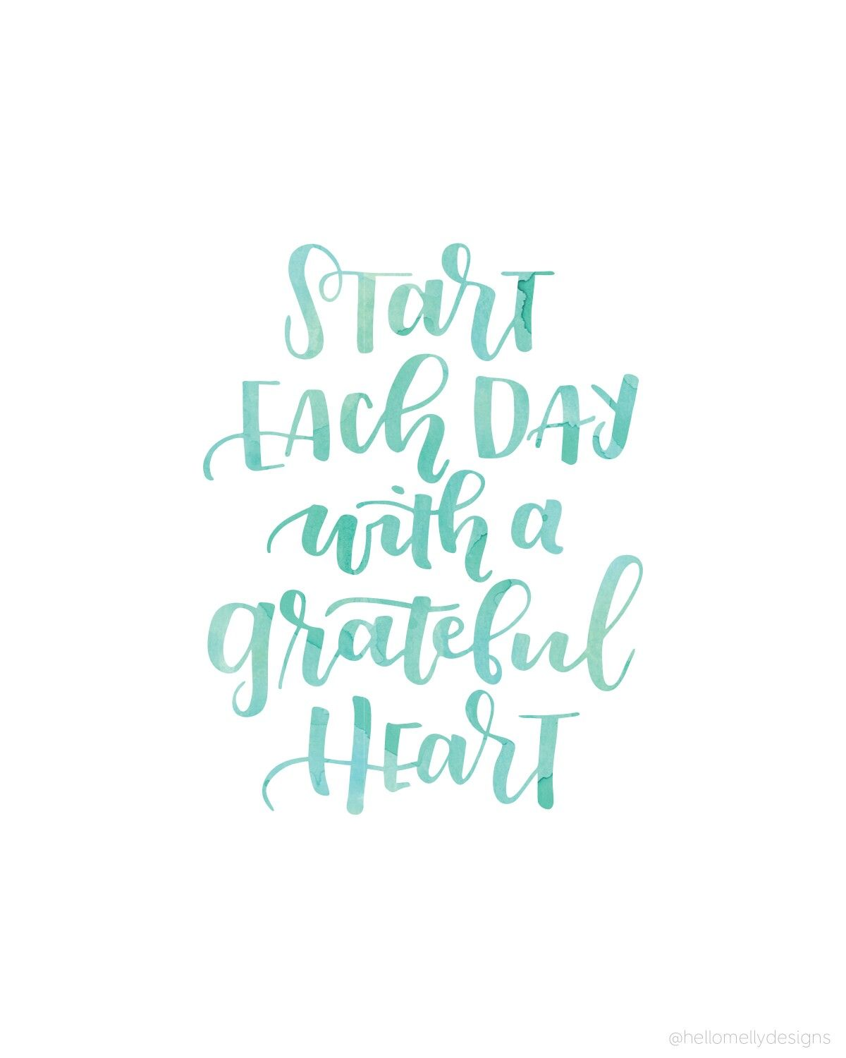 ... Each Day With A Grateful Heart. Cool Inspirational, Motivational And  Positive Quote About Living Each Day. Teal Typography On A Simple White  Background.