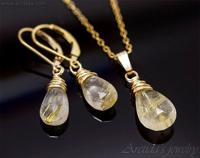 Photo of Rutilated Quartz necklace Golden Rutilated Quartz jewelry Gemstone necklace for women Gold necklace Rutile pendant necklace Pagan jewelry #quartznecklace