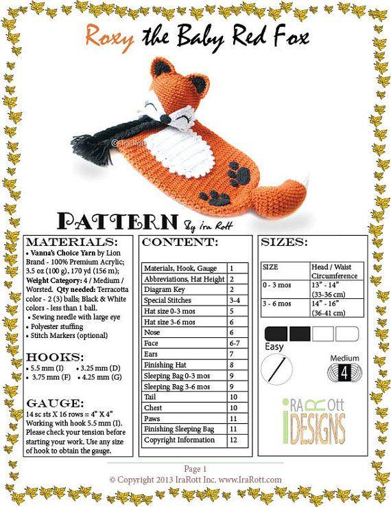 Roxy the Baby Red Fox Hat and Sleeping Bag Set PDF Crochet Pattern ...