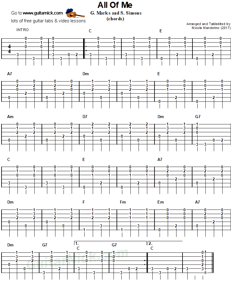 All Of Me Guitar Chords Guitar Tabs Learn Guitar Learn Guitar Beginner