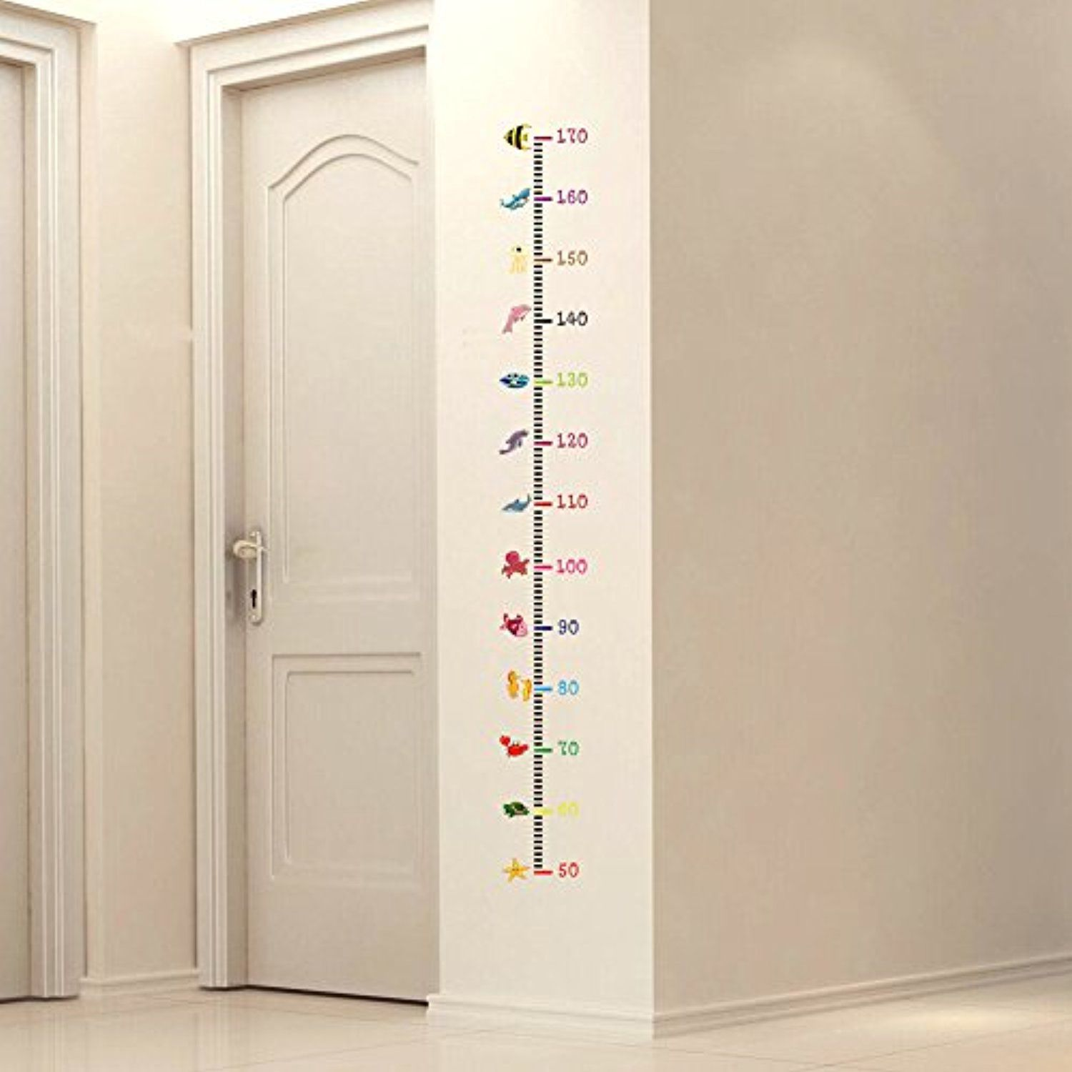 Height Measurement Wall Stickers Cartoon Undersea Animals Wall Decals For