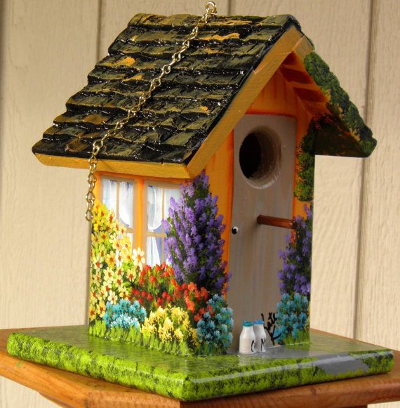 Garden Birdhouse Hand Painted Orange With Colorful Flowers