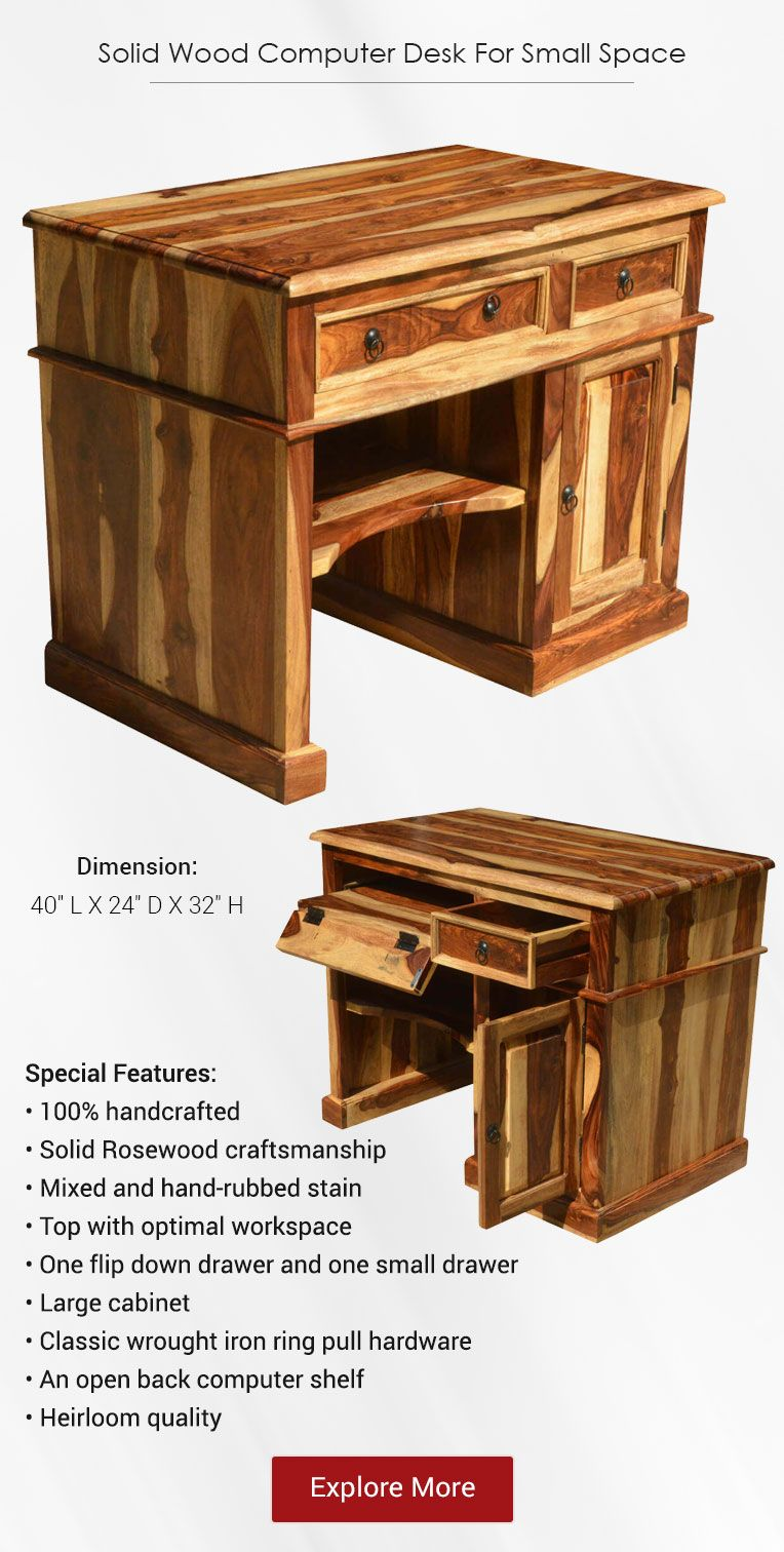 Solid Wood Computer Desk For Small Space Desks For Small Spaces Wood Computer Desk Solid Wood