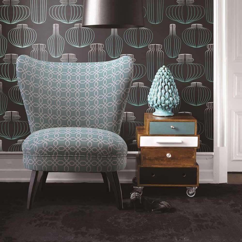 toller vintage sessel im 50er design mit sch nem muster stoffbezug und typischen schr gen beinen. Black Bedroom Furniture Sets. Home Design Ideas