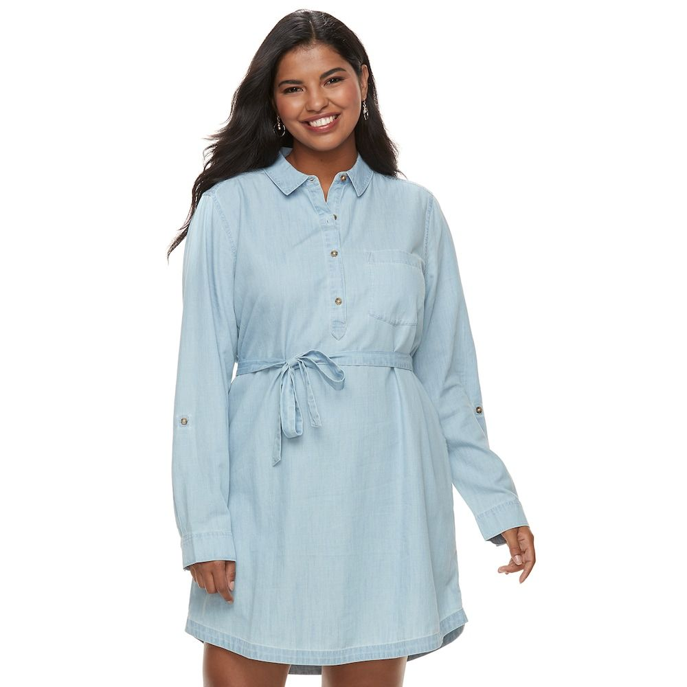 Juniors Plus Size So Chambray Shirt Dress Teens Size 2xl Med