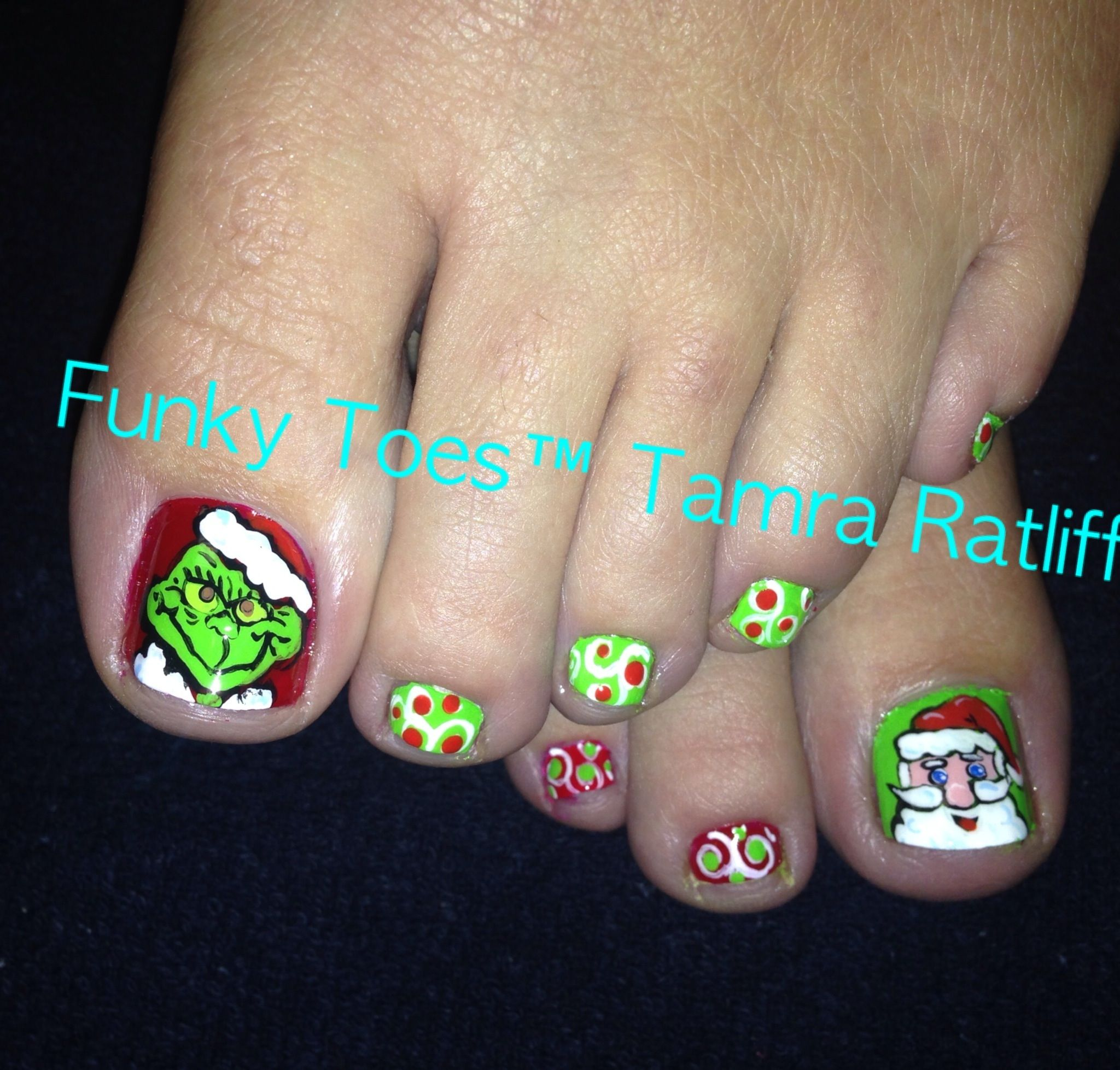 Toe Nail Art Holidays: Christmas, The Grinch, Nail Art,