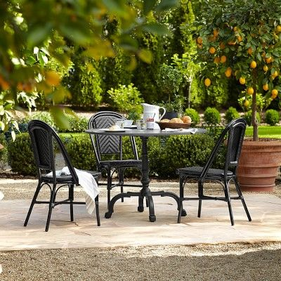 La Coupole Indoor/Outdoor Dining Table, Round Black Granite Top #williamssonoma
