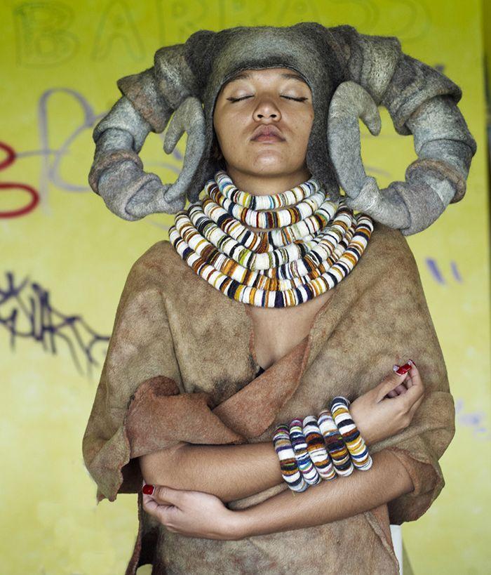 Hand felted Curled horns headdress & nuno felt wrap & felt neck piece by Gladys Paulus 2013 photography by Bella West