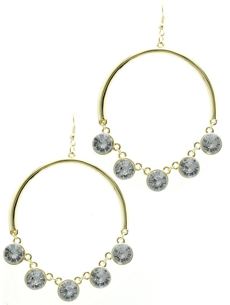 Arched Metal Glass Stone Charm Earrings