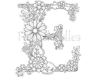 adult coloring page   floral letters, alphabet D, hand lettering