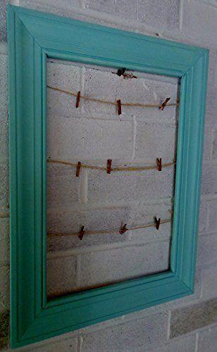 Reclaimed Trim Clothesline Picture Frame Teal Clothespin Doorway Organizer Frontdoor Handmade