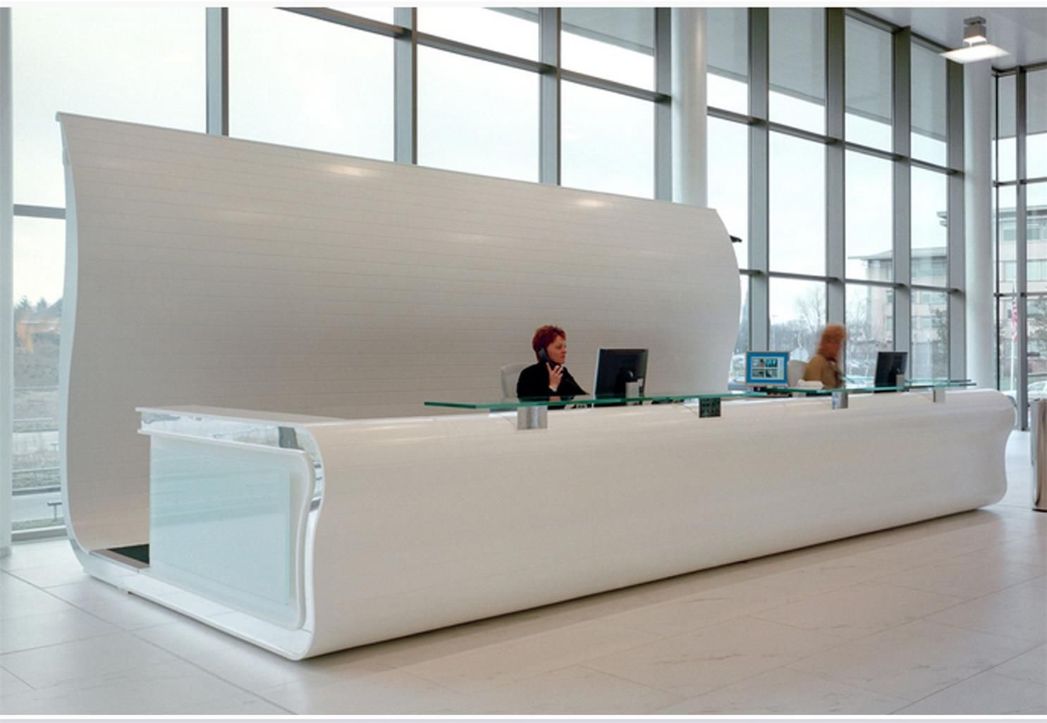 Large custom design recption information desk for lobby desk reception office for Information on interior design