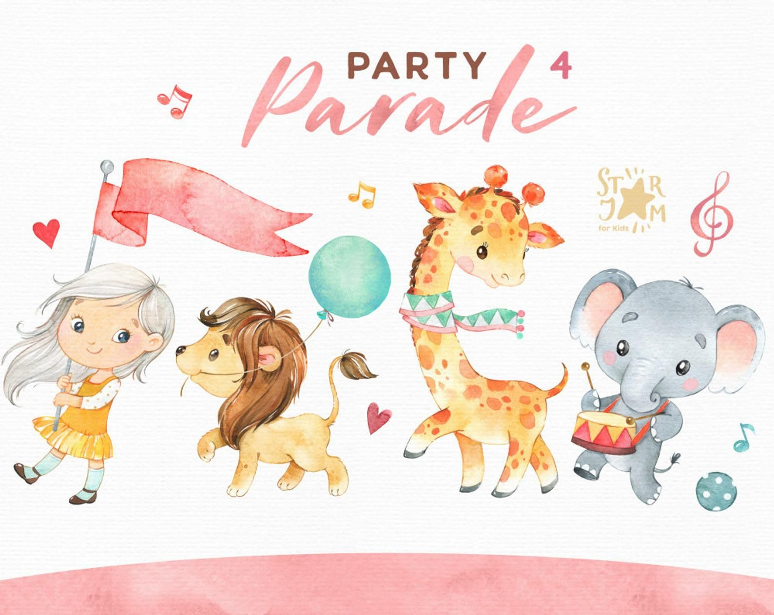 Party Parade 4 Watercolor Clipart Girl Animals Giraffe Etsy In 2021 Watercolor Clipart Clip Art Cute Illustration