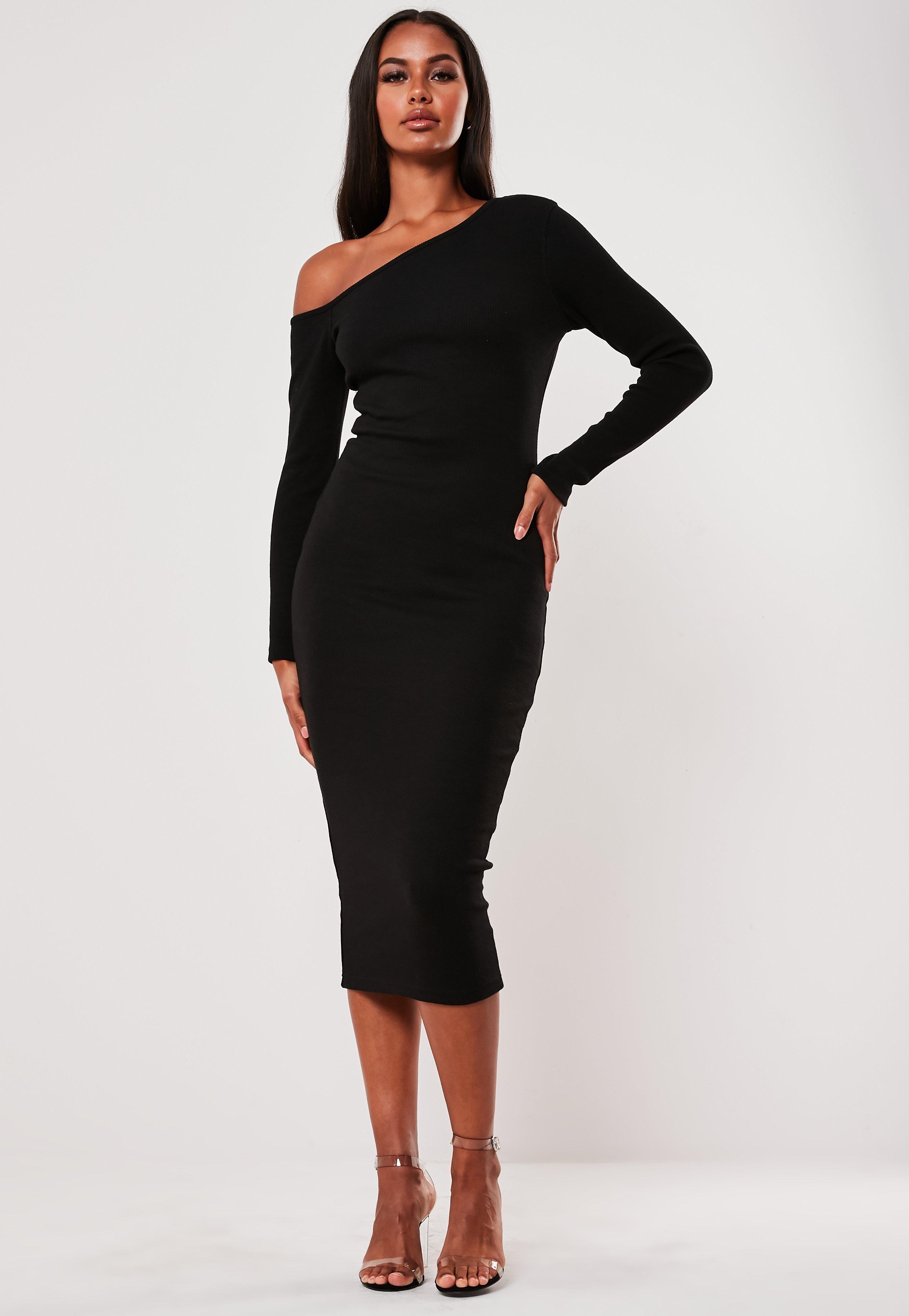 Black Rib Off Shoulder Bodycon Midi Dress Sponsored Shoulder Spon Rib Black Midi Dress Bodycon Women Dress Online Trending Dresses [ 4200 x 2900 Pixel ]
