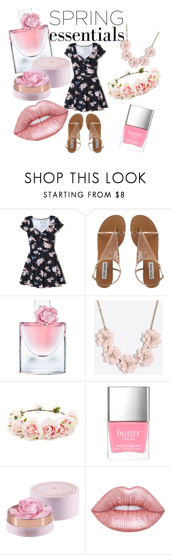 """""""Spring Essentials"""" by xms-purple-unikornx ❤ liked on Polyvore featuring beauty, Hollister Co., Lancôme, J.Crew, Forever 21 and Lime Crime"""
