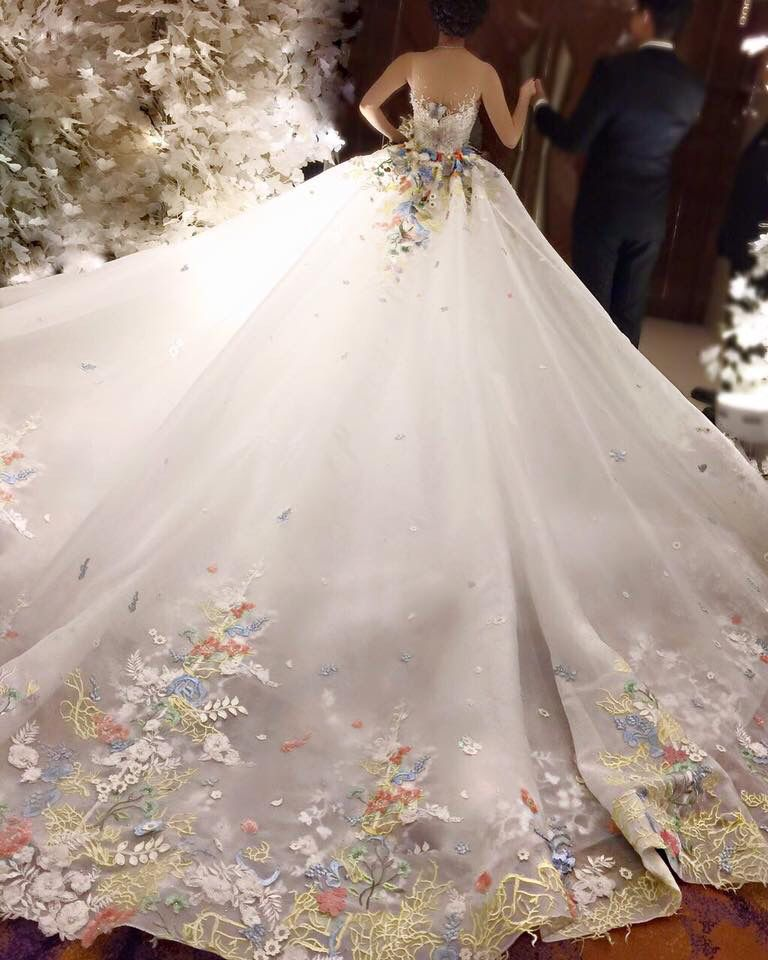 Butterfly Wedding Gown: Special Butterfly Design And Multi Colour Lace