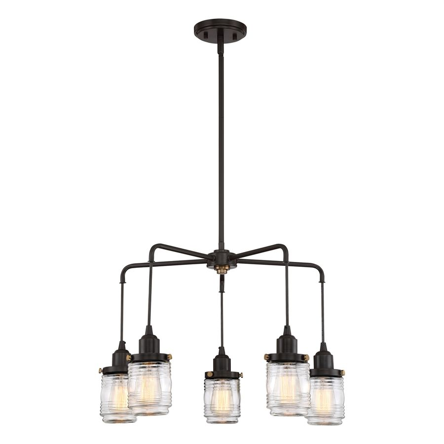 Quoizel belmont 24 in 5 light western bronze industrial clear glass quoizel belmont 24 in 5 light western bronze industrial clear glass shaded chandelier arubaitofo Image collections