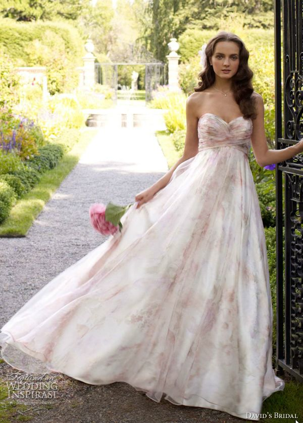 Fabulous David us Bridal Wedding Dress Strapless Printed Organza Soft A Line Gown Style