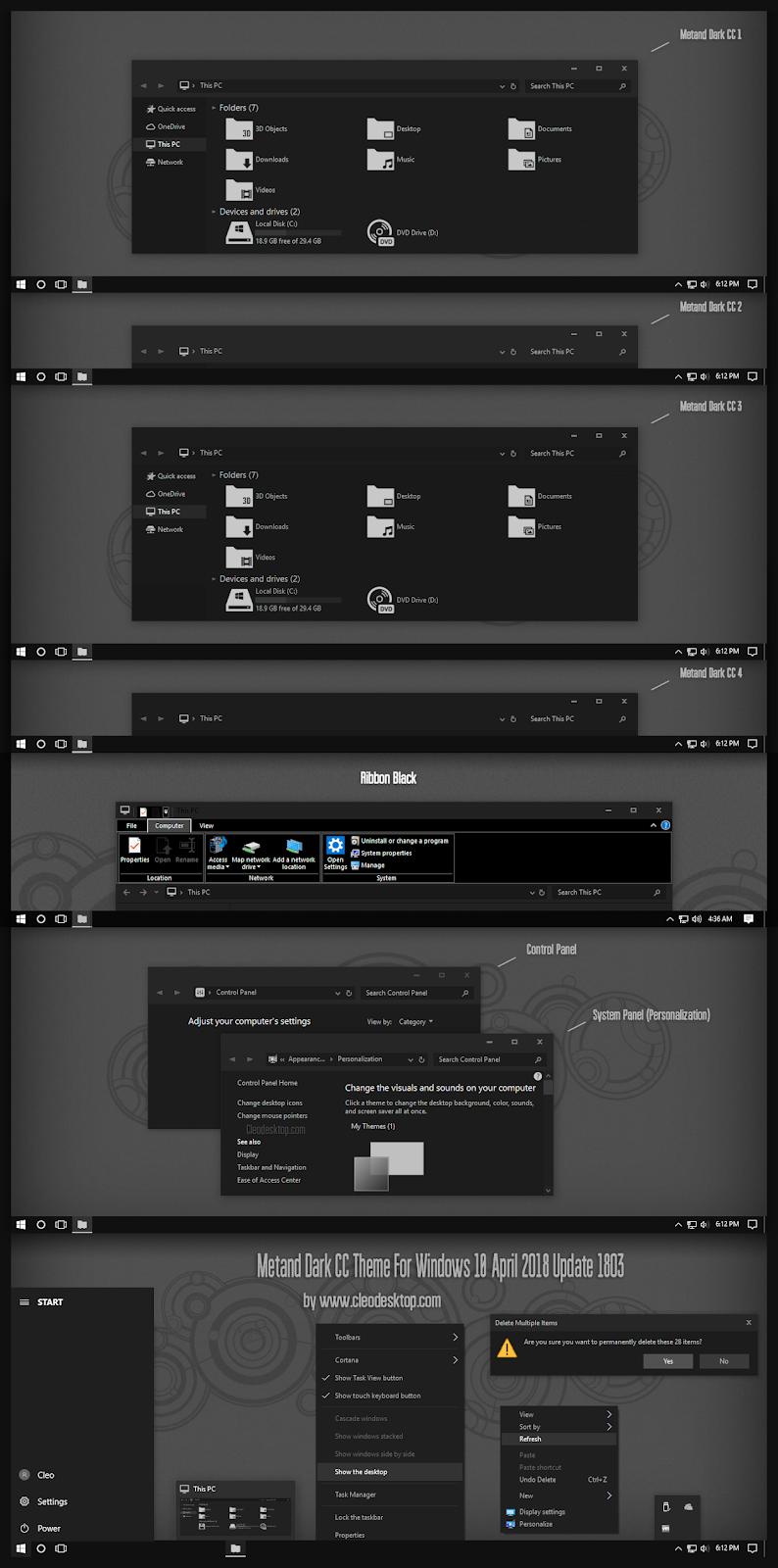 Windows10 Themes I Cleodesktop Metand Dark CC Theme