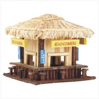 "Beachcombing birdies will belly up to this adorable wood snack shack! Just like a favorite seaside hangout, complete with straw roof, signs and ""barstool"" perches. Wood. 8 1/4"" x 8 1/4"" x 7 3/4"" high.   •"