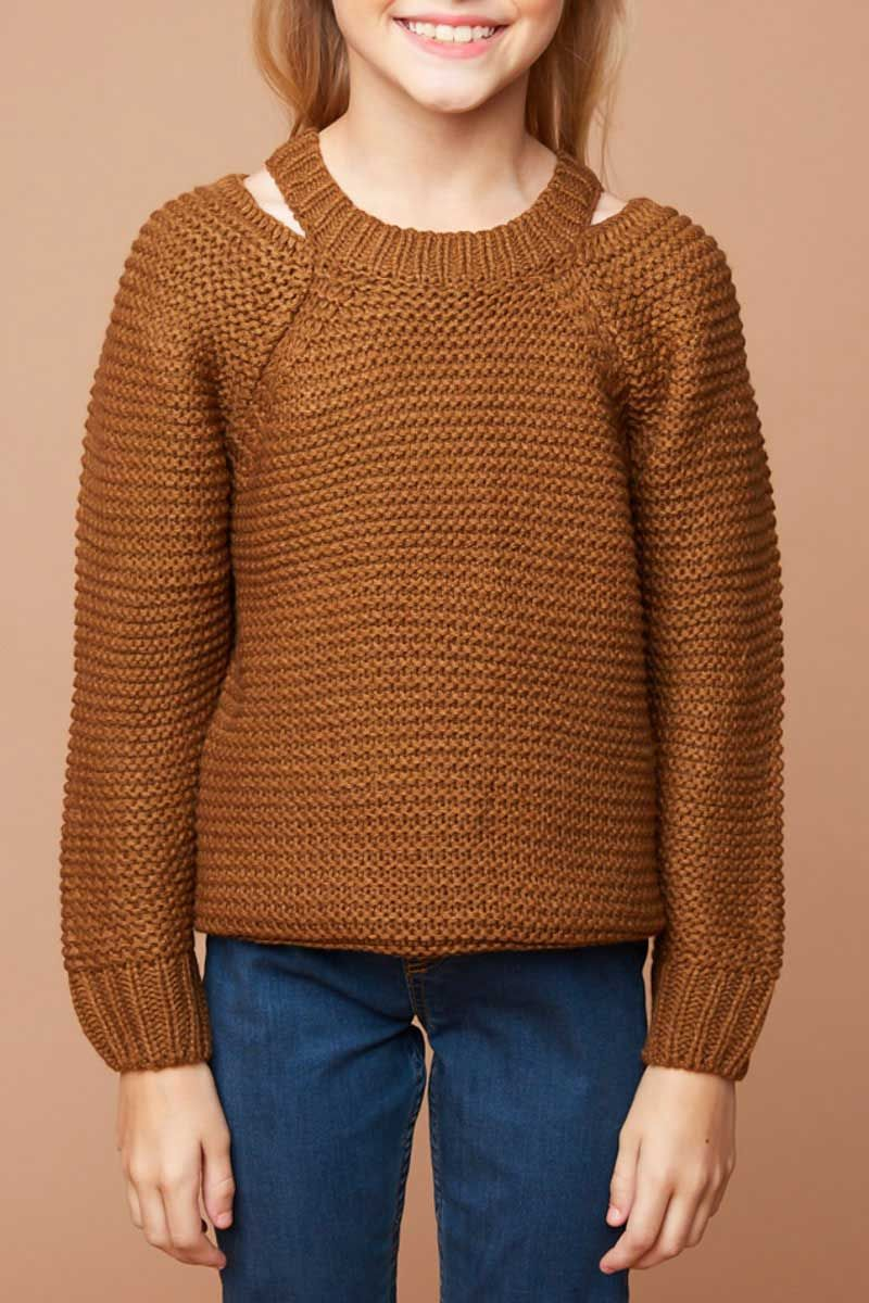 785969ef405 Hayden Clothing Oversized Sweater with Shoulder Cutouts for Girls in  Chestnut G5482-CHESTNUT