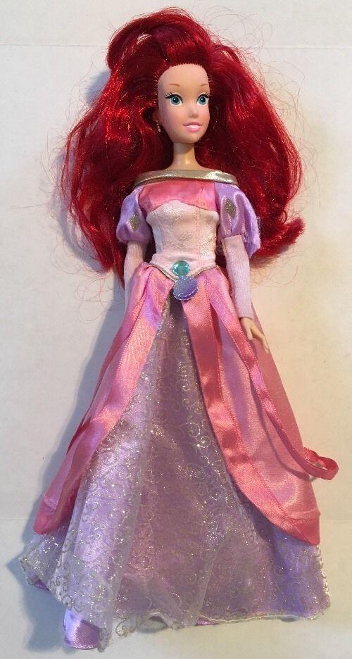 Disney Little Mermaid Ariel Doll w Pink Purple Ball Gown Dress 11 ...