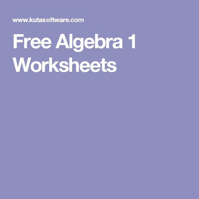 Free Algebra 1 Worksheets Math Pinterest Algebra Worksheets