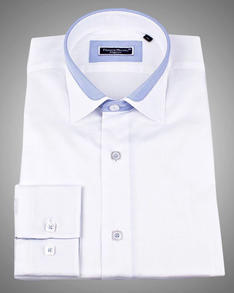 Mens Designer Shirts Lyon White Satin 7900