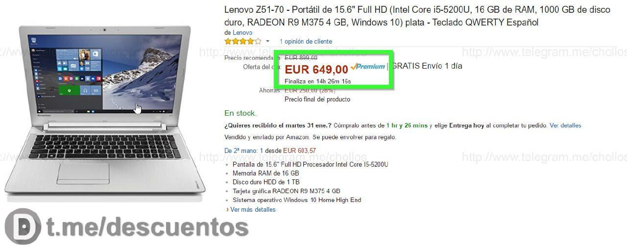 Portátil Lenovo i5 de 16GB a sólo 649 - http://ift.tt/2kmbNeh