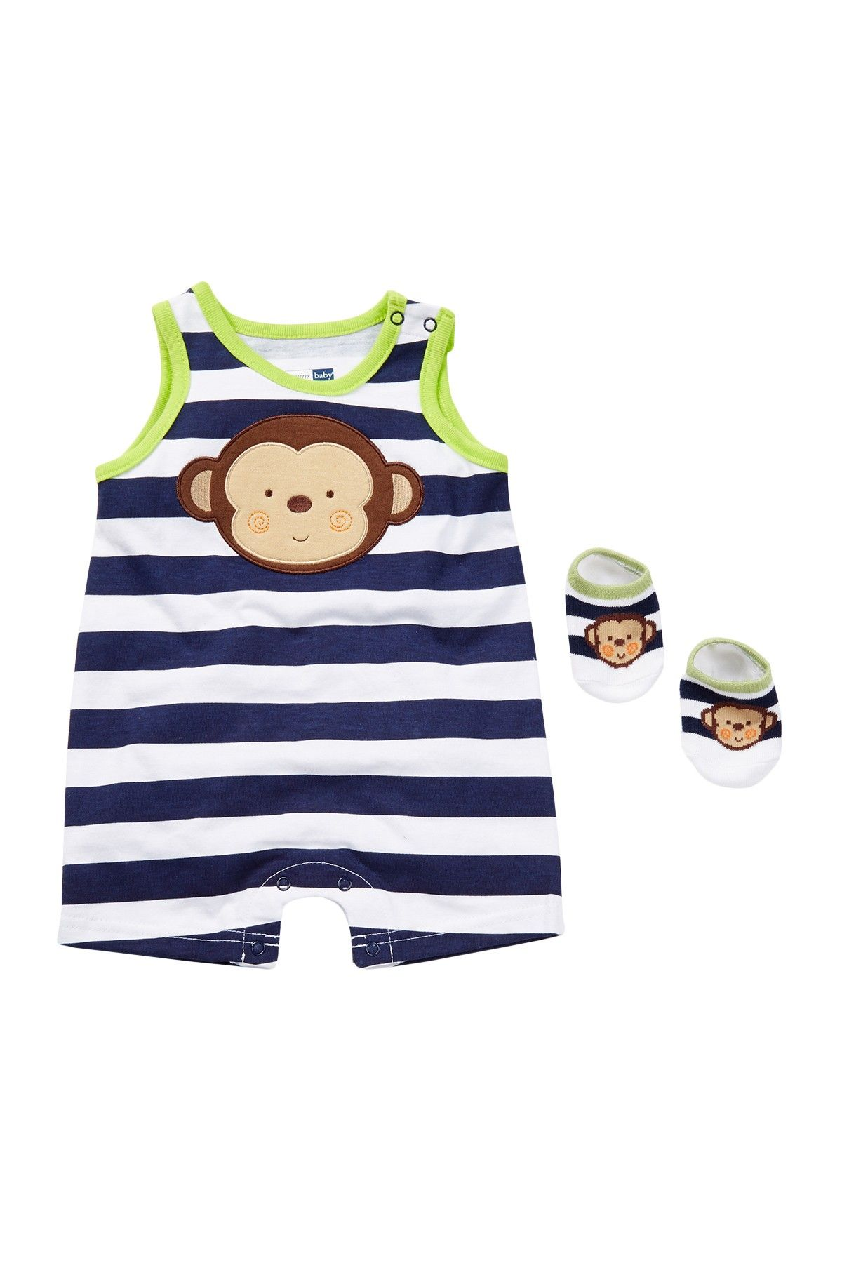 Monkey Sunsuit & Sock Set Baby Boys by Vitamins Baby on HauteLook