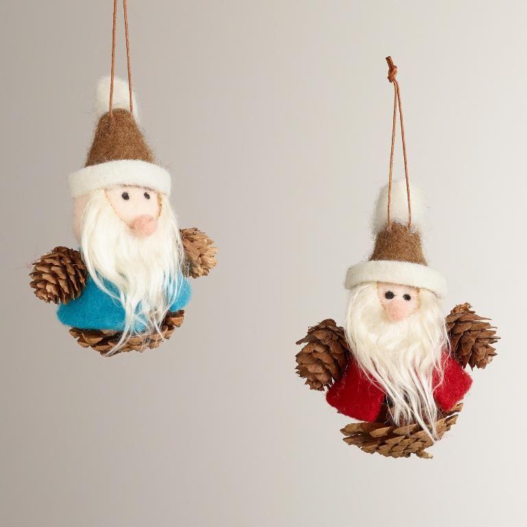 Santa Gnome Pinecone Ornament