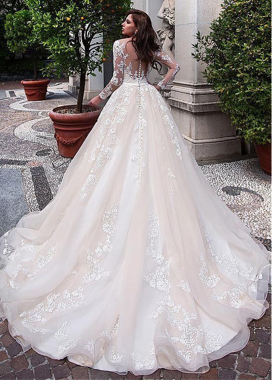 Discount kaufen Eleganter Tüll & Organza U-Nut Ballkleid Hochzeitskleid mit ... #tulleballgown