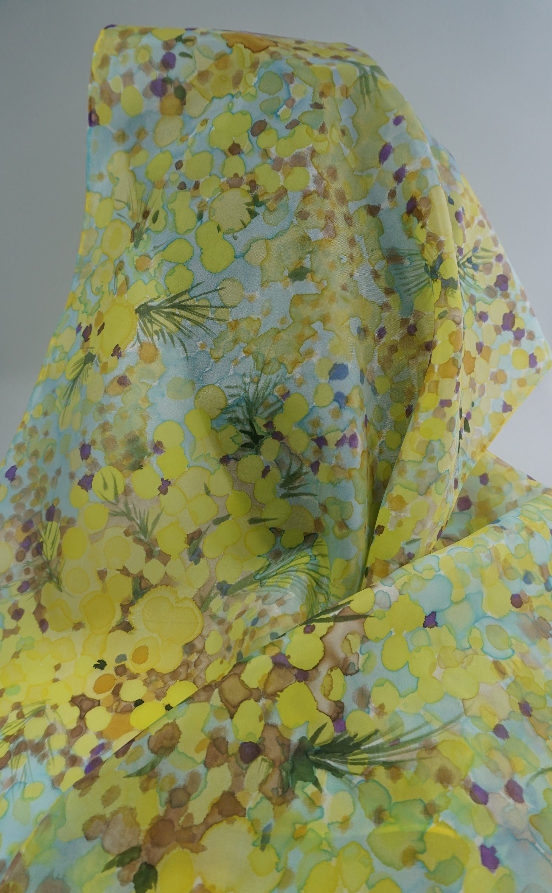 San Francisco doux et léger dessins attrayants silk scarf hand painted, yellow and green scarf, scarf ...